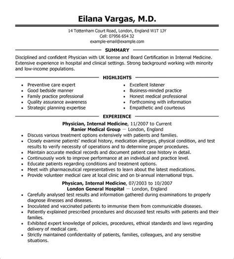 Primary care internal medicine physician resume example jpg 585x649